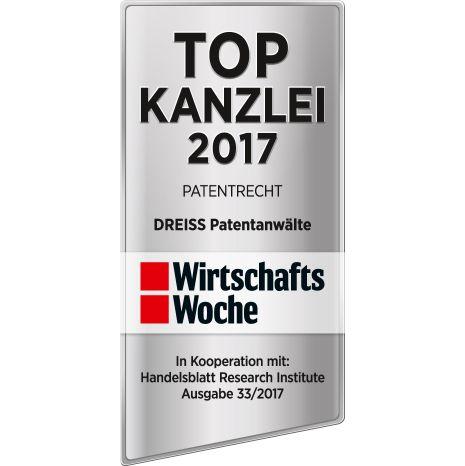 WirtschaftsWoche TOP Kanzlei 2017 Patentrecht DREISS Patentanwälte